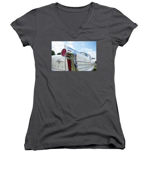 Oldsmobile Tail Women's V-Neck T-Shirt (Junior Cut) by Helen Northcott