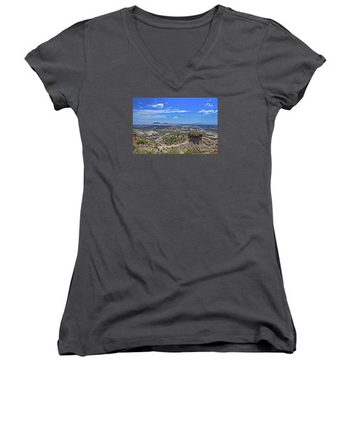 Women's V-Neck T-Shirt (Junior Cut) featuring the photograph Olduvai Gorge - The Cradle Of Mankind by Pravine Chester