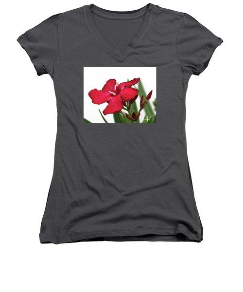 Oleander Blood-red Velvet 2 Women's V-Neck