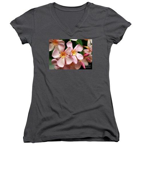 Women's V-Neck T-Shirt (Junior Cut) featuring the photograph Oleander Dr. Ragioneri 2 by Wilhelm Hufnagl