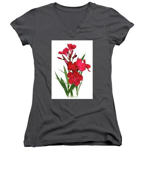 Oleander Emile Sahut 2 Women's V-Neck T-Shirt (Junior Cut) by Wilhelm Hufnagl