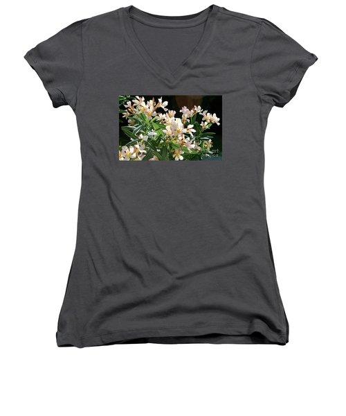 Oleander Petite Salmon 3 Women's V-Neck T-Shirt (Junior Cut) by Wilhelm Hufnagl