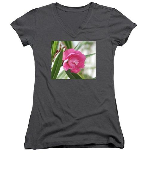 Oleander Splendens Giganteum 3 Women's V-Neck T-Shirt (Junior Cut) by Wilhelm Hufnagl