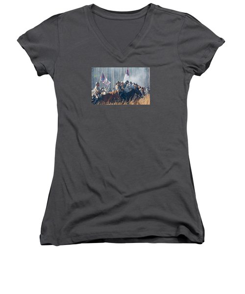 Olustee Confederate Charge Women's V-Neck T-Shirt (Junior Cut) by Kenneth Albin