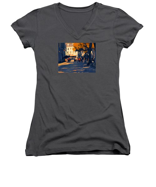 Women's V-Neck T-Shirt (Junior Cut) featuring the painting Olv Plein Maastricht In Autumn by Nop Briex