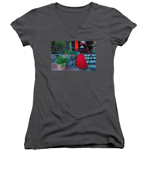 Olvera Street Los Angeles Women's V-Neck T-Shirt (Junior Cut) by Ram Vasudev
