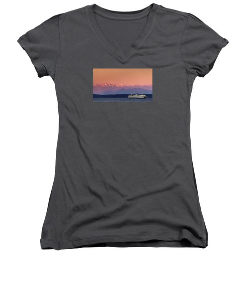 Women's V-Neck T-Shirt (Junior Cut) featuring the photograph Olympic Journey by Dan Mihai