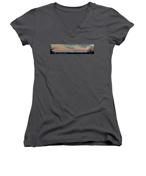 Olympic Mountains At Dawn.1 Women's V-Neck