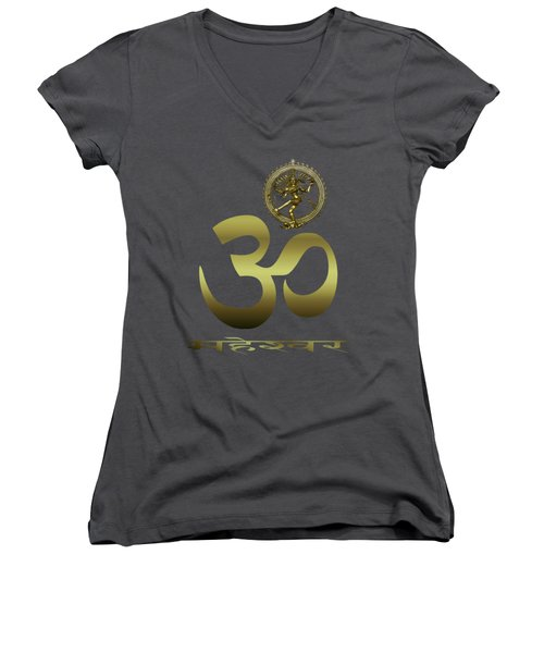 Om Shiva Women's V-Neck T-Shirt (Junior Cut) by Robert G Kernodle