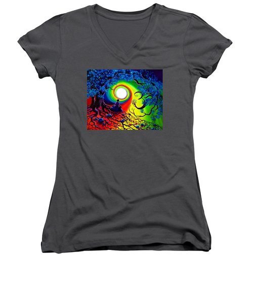 Om Tree Of Life Meditation Women's V-Neck T-Shirt