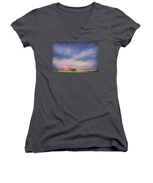 Ominous Clouds Over The Aggie Barn In Reagan, Texas Women's V-Neck (Athletic Fit)