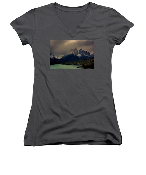 Women's V-Neck T-Shirt (Junior Cut) featuring the photograph Ominous Peaks by Andrew Matwijec