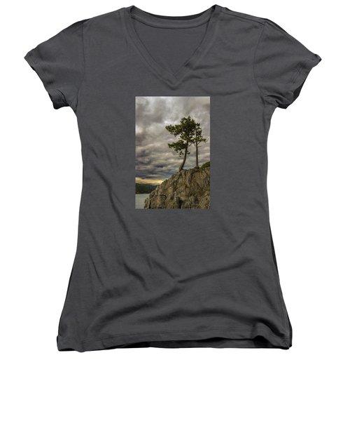 Ominous Weather Women's V-Neck T-Shirt (Junior Cut) by Ed Clark
