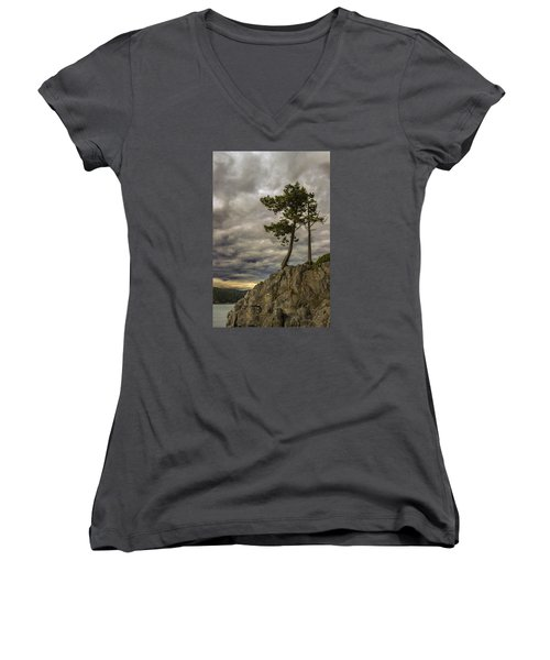 Ominous Weather Women's V-Neck (Athletic Fit)