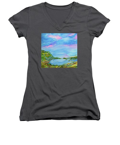 Women's V-Neck T-Shirt (Junior Cut) featuring the painting On A Clear Day by Susan D Moody