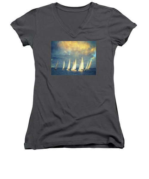 On A Day Like Today  Women's V-Neck T-Shirt (Junior Cut) by Taylan Apukovska
