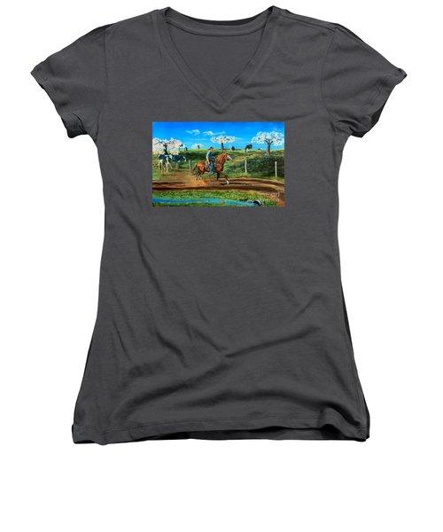 On A Spring Morning Women's V-Neck T-Shirt (Junior Cut) by Ruanna Sion Shadd a'Dann'l Yoder