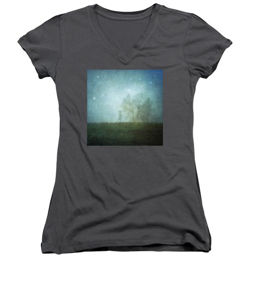 On A Starry Night, A Boy And His Tree Women's V-Neck T-Shirt