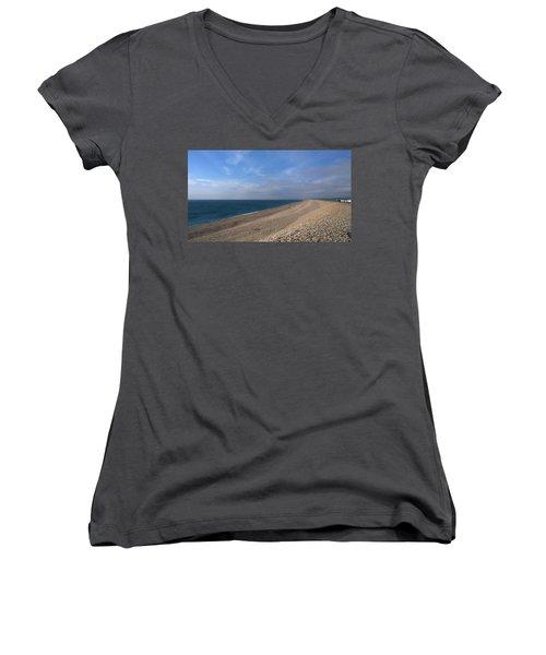 On Chesil Beach Women's V-Neck T-Shirt (Junior Cut) by Anne Kotan