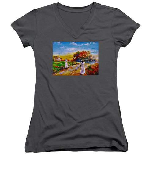 On My Way Home Women's V-Neck T-Shirt (Junior Cut) by Emery Franklin