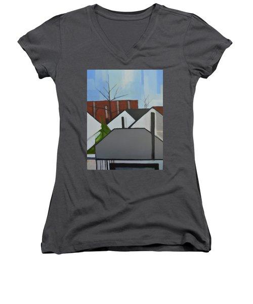 On Palisade Women's V-Neck T-Shirt (Junior Cut) by Ron Erickson