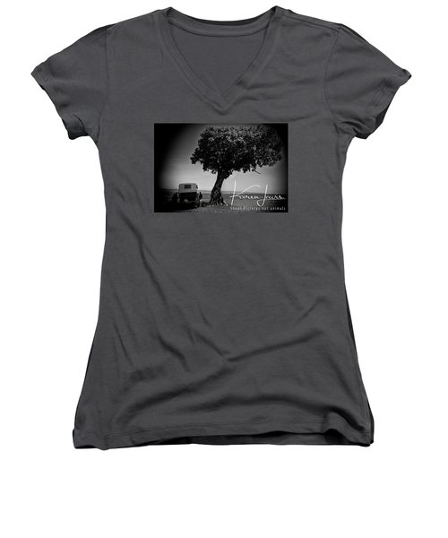 Women's V-Neck T-Shirt (Junior Cut) featuring the photograph On Safari by Karen Lewis