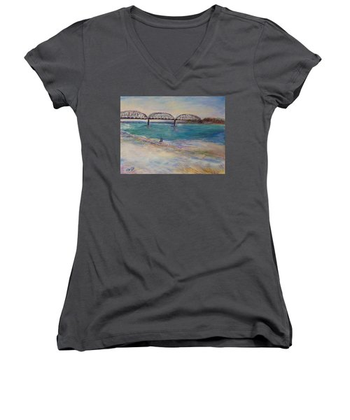 On The Bank Women's V-Neck T-Shirt (Junior Cut) by Helen Campbell