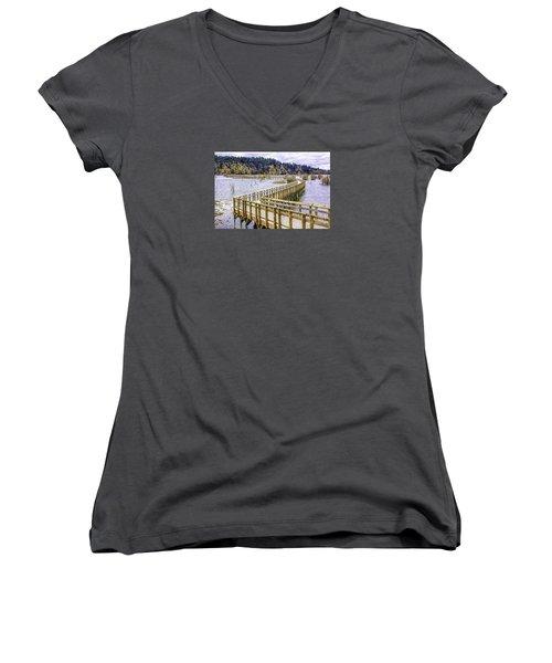 On The Boardwalk  Women's V-Neck T-Shirt (Junior Cut) by Jean OKeeffe Macro Abundance Art