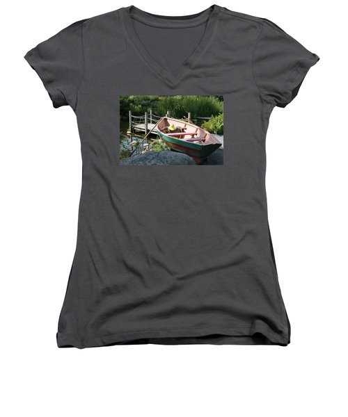 Women's V-Neck T-Shirt (Junior Cut) featuring the photograph On The Dock by Lois Lepisto