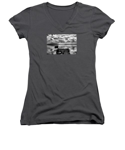 Women's V-Neck T-Shirt (Junior Cut) featuring the photograph On The Lakes by Rick Bragan