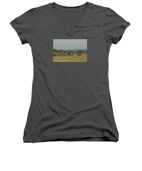 Women's V-Neck T-Shirt (Junior Cut) featuring the photograph On The Move by Gary Hall
