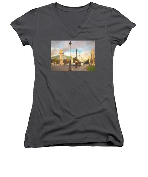 On The Pont Alexandre  Women's V-Neck (Athletic Fit)