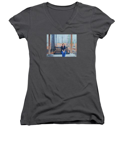 On The Porch Swing Women's V-Neck T-Shirt (Junior Cut) by Mike Ivey
