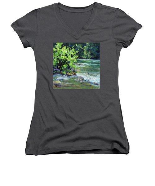 On The River Women's V-Neck T-Shirt (Junior Cut) by Karen Ilari