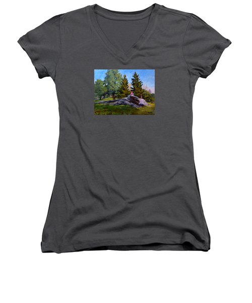 On The Rocks In Central Park Women's V-Neck (Athletic Fit)
