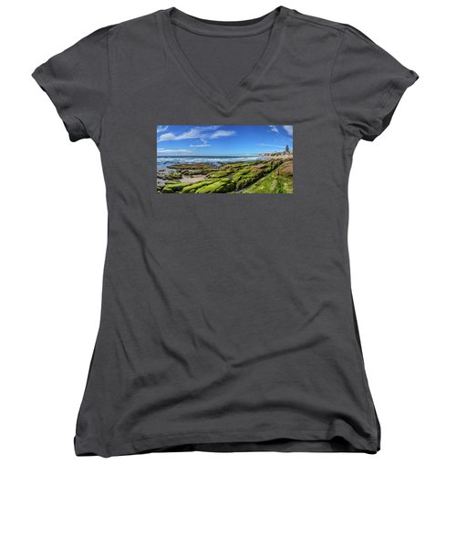 Women's V-Neck T-Shirt (Junior Cut) featuring the photograph On The Rocky Coast by Peter Tellone