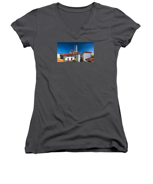 On The Tiles Women's V-Neck T-Shirt (Junior Cut) by Graham Hawcroft pixsellpix
