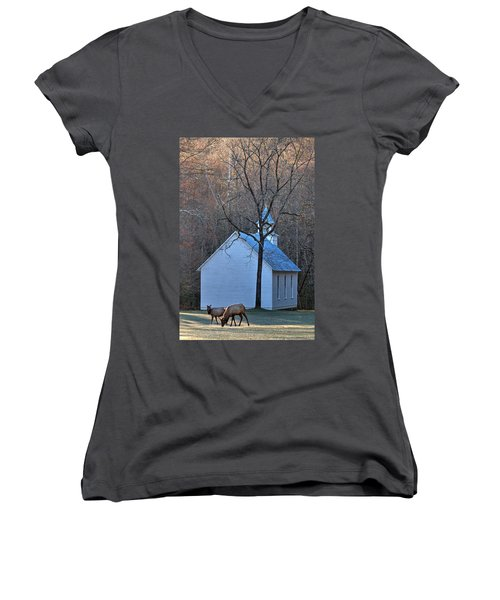 On The Way To Church Women's V-Neck