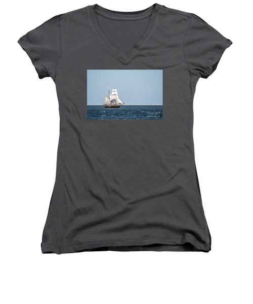 on the way to Texel Women's V-Neck T-Shirt (Junior Cut) by Hannes Cmarits