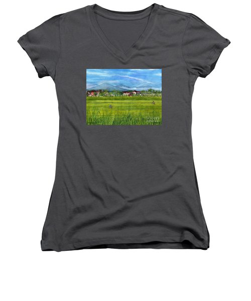 Women's V-Neck T-Shirt (Junior Cut) featuring the painting On The Way To Ubud 3 Bali Indonesia by Melly Terpening