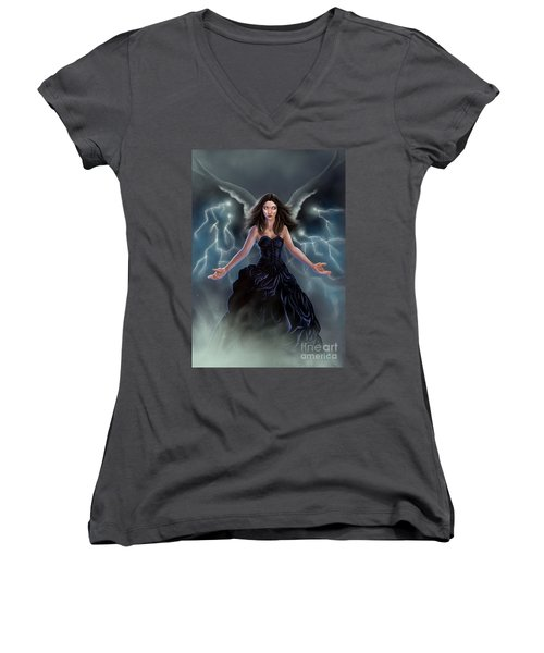 On The Wings Of The Storm Women's V-Neck T-Shirt