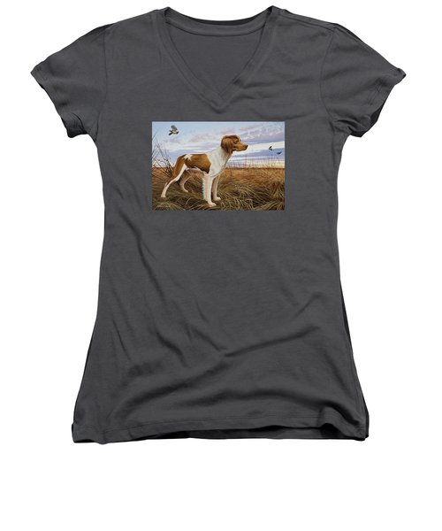 On Watch - Brittany Spaniel Women's V-Neck