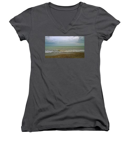 Women's V-Neck T-Shirt (Junior Cut) featuring the photograph On Weymouth Beach by Anne Kotan