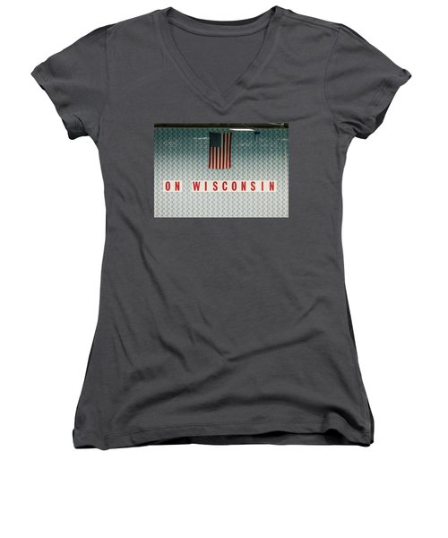 On Wisconsin  Women's V-Neck (Athletic Fit)