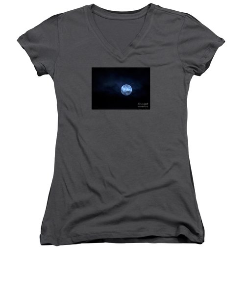 Once In A Blue Moon Women's V-Neck T-Shirt (Junior Cut)