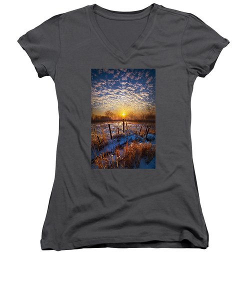 One Day At A Time Women's V-Neck T-Shirt (Junior Cut) by Phil Koch