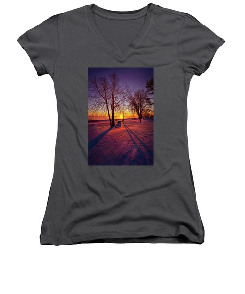Women's V-Neck T-Shirt (Junior Cut) featuring the photograph One Day Closer by Phil Koch