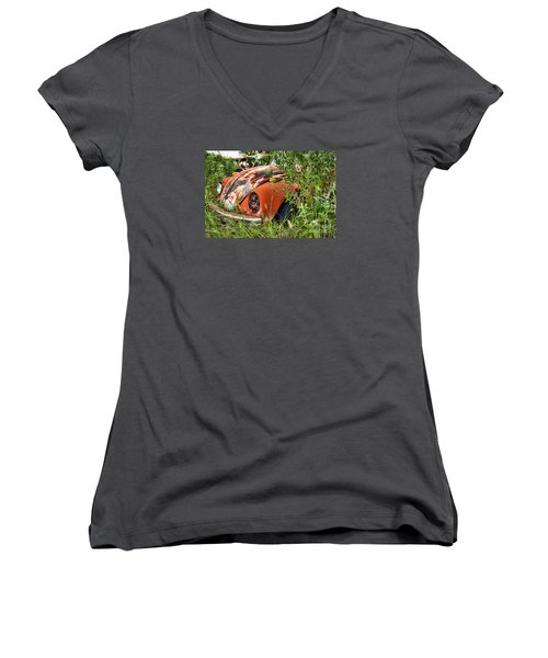 Women's V-Neck T-Shirt (Junior Cut) featuring the photograph One Eyed Bug by Lawrence Burry