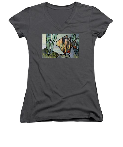 One Fish Women's V-Neck T-Shirt (Junior Cut) by Joan Ladendorf