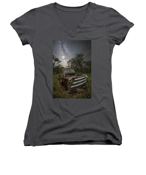 Women's V-Neck T-Shirt featuring the photograph One Headlight  by Aaron J Groen